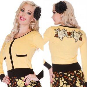 Voodoo Vixen retro yellow roses cardigan XL